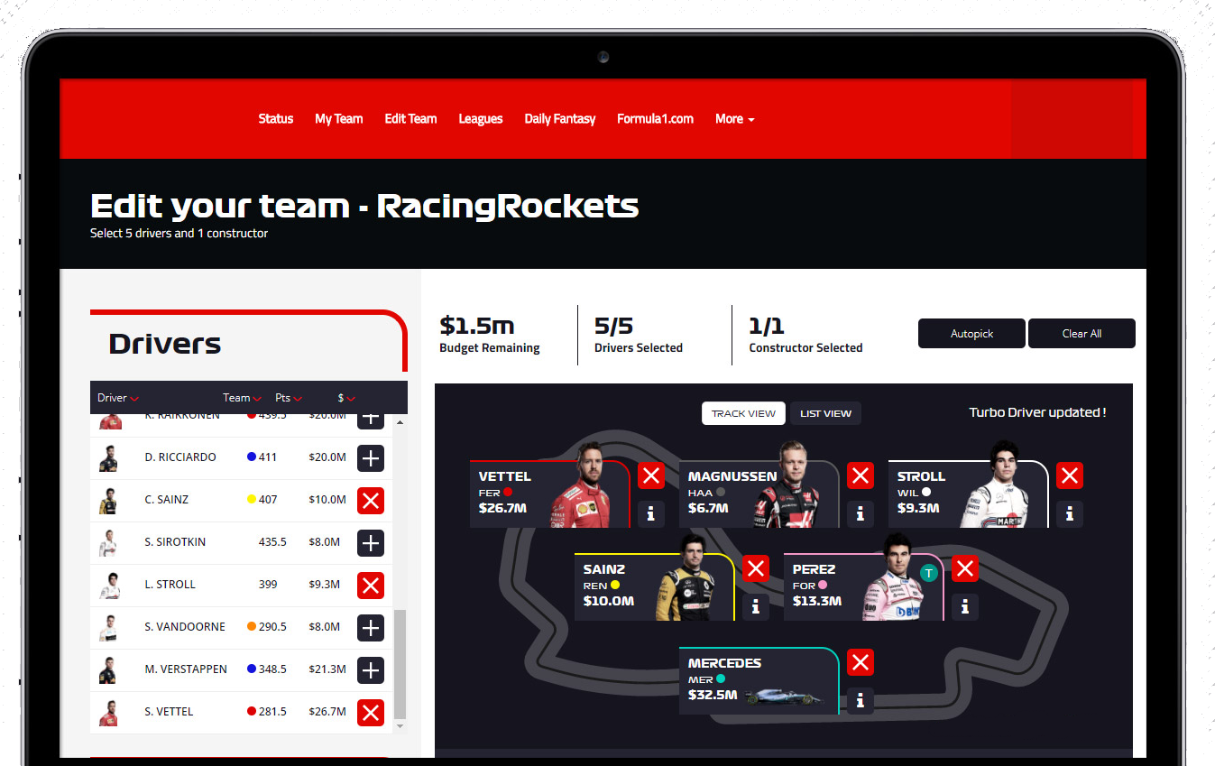 f1-fantasy-app-development