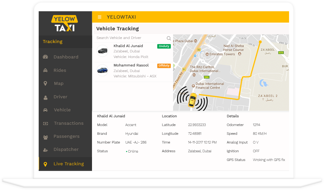 admin panel taxi app