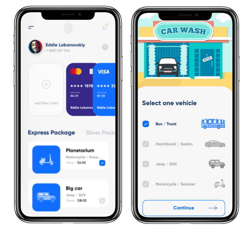 car wash app payment option