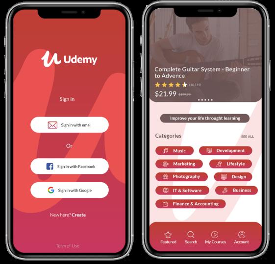 udemy elearning mobile app development