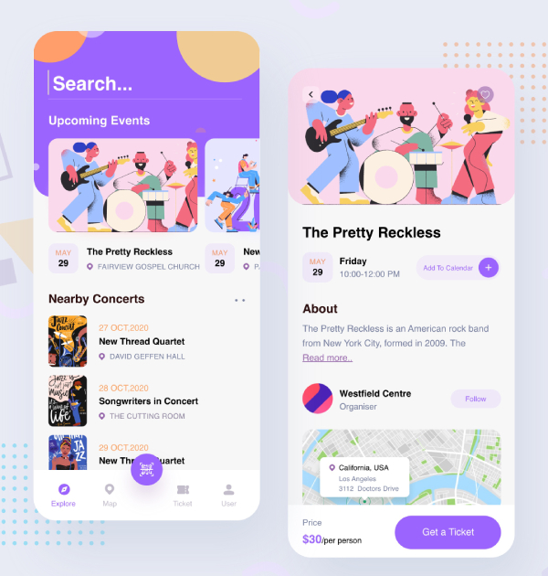 event list on event booking app